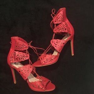 Red Cut-Out Lace Up Heels Size 9